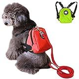 LA VIE Hundegeschirr Leine mit Abnehmbarer Rucksack Massiv und Schöne Führleine Komfortabel Nylon Hundegeschirr Seil Praktische Verstellbare Leine für Kleine Mittelgroße Hunde Rot M