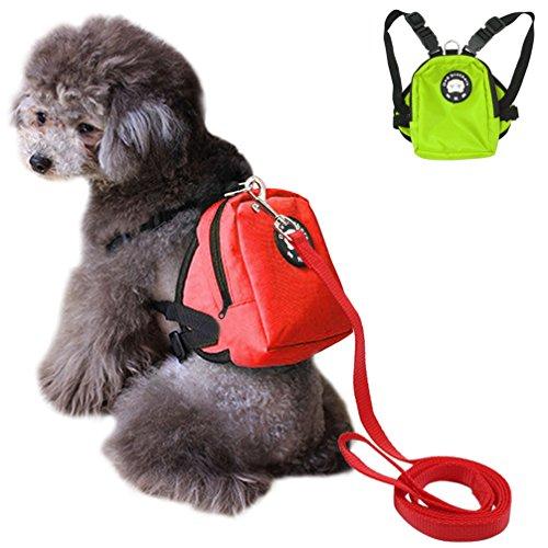 LA VIE Mochila de Arnés de Seguridad Ajustable con Correa para Perros Pequeños y Medianos Mini Bolsos Portátiles Lindos Mochila Arnés Puppy para Caminar al Aire Libre M Roja
