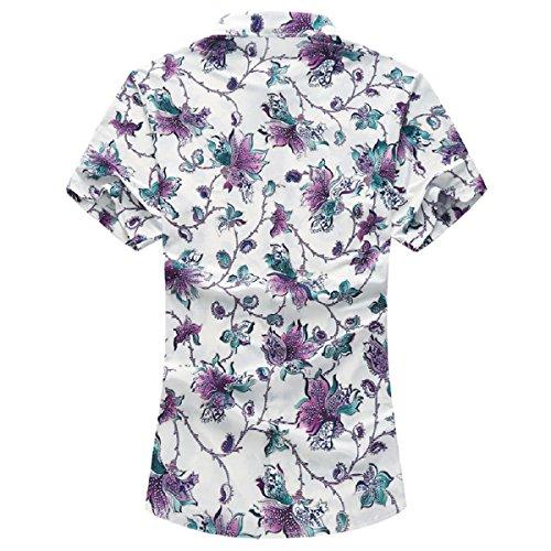 YOUTHUP Herren Sommerhemd Hawaiihemd Kurzarm Hemd Blatthemd Freizeit Hemd Besonders für Reise Urlaub Blau 2