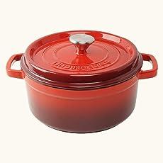 Wonderchef Ferro Cast Iron Casserole with Lid, 5 Liters/26 cm, Red