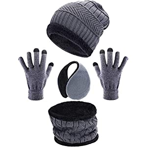 Tatuo 4 Stück Ski Warm Set Beinhaltet Winter Mütze Schal Warmer Handschuhe Winter Draussen Ohrenschützer für Erwachsene Kinder