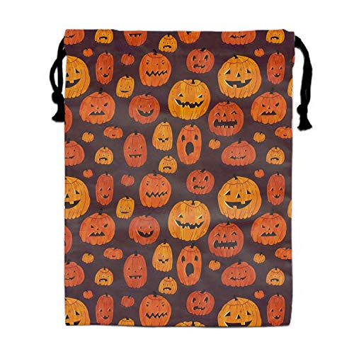 Naiyin Halloween Pumpkins Nylon Drawstring Drawstring Bag for Girls and Boys