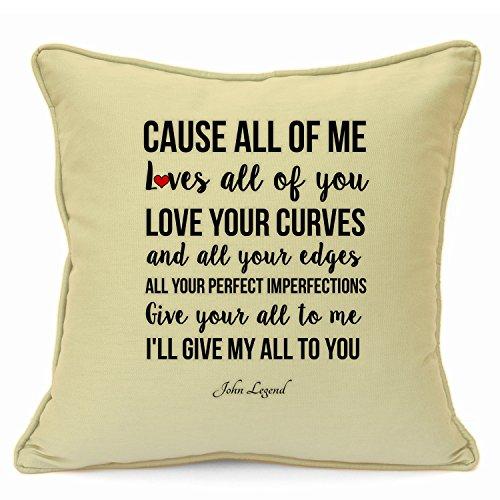 John legend, federa per cuscino di cotone, per san valentino, anniversario di matrimonio, compleanno romantico, regali, idee regalo per lei, lui, moglie, marito, fidanzati, coppie, decorativo per casa, fatto a mano, 45,7cm beige