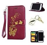 Silikonsoftshell PU Hülle für Samsung Galaxy S4 mini i9190 (4,3 Zoll ) Tasche Schutz Hülle Case Cover Etui Strass Schutz schutzhülle Bumper Schale Silicone case(+Exquisite key chain X1)#AW (3)