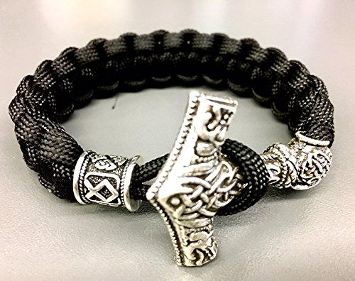Handgeknotet, nach Maß gefertigt: Thor's Hammer Armband  Wikinger Armband mit Mjolnir-Verschluss in Silber, Bronze oder Kupfer  Rocker-Schmuck   Biker-Schmuck   Wikinger-Schmuck   Handarbeit
