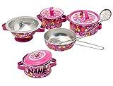 10 tlg. Kochset inc. Namen - Topfset aus Metall incl. Küchenhelfer - Geschirr - Spiel Set Kochgeschirr - Küche Zubehör Koffer - Kindergeschirr - Töpfe Kochtopf für Kinder - Puppengeschirr - Kindertöpfe Kochtöpfe - rosa für Mädchen - Kochtopfset