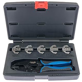 Asta A-RC6K Profi Crimpzange Set für Aderendhülsen Kabelschuhe mit 5 Paar Backen und Ratschenfunktion