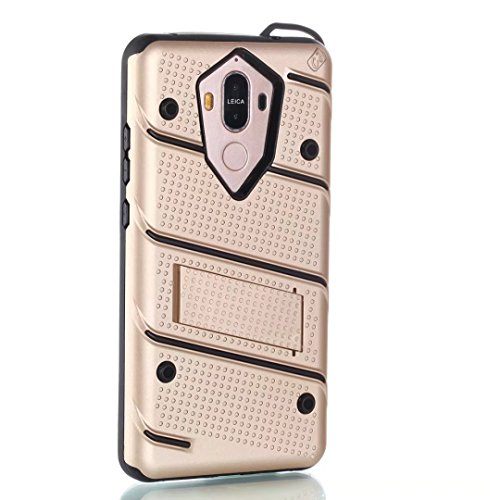 EKINHUI Case Cover Ultra Thin Slim Dual Layer PC + Soft TPU Back Schutzhülle Case [Shockproof] mit Kickstand für Huawei Mate 9 ( Color : Black ) Gold