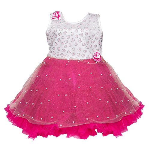 Wish Karo Baby Girl's Net Frock Dress (Dark Pink, 12 - 18 Months)