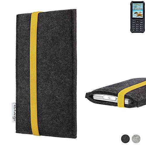 flat.design Handy Hülle Coimbra für Energizer H20 passgenau Handytasche Filz Tasche fair schwarz gelb
