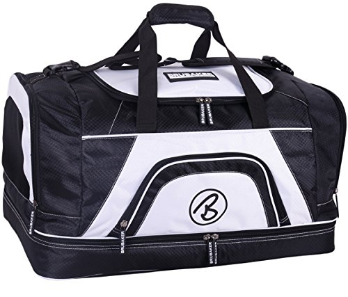 Brubaker \'Big Base\' XXL Sporttasche 90 L mit großem Nassfach als Bodenfach + Schuhfach - Schwarz/Weiß