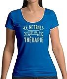 Dressdown le Netball est ma Thérapie - T-Shirt à Col Rond Profond Pour Femme - Bleu Royale - S