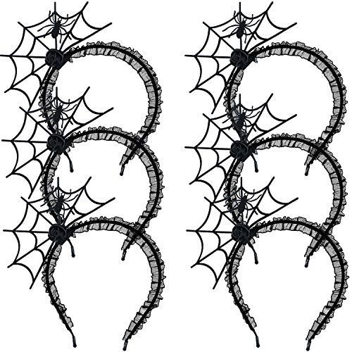 pinnennetz Haarband Spinne Stirnband Spinnennetz Kopfschmuck für Halloween Cosplay Party Zubehör, Schwarz ()