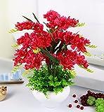JFWMZyq Künstliche Blumen Freesie Topfpflanzen Home Dekoration Rot
