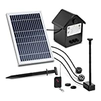 Uniprodo Solar Powered Pond Pump Fountain Water Feature Remote Control Battery LED 250L/hr UNI_PUMP_12 (Solar Cell 2W, Pump 2.5W, Max. Projection Height 1.6m)