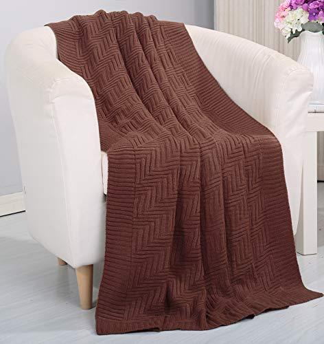 Urlaub Königin Tröster (Soft Touch Classic Woven Strick Überwurf Decke (127x 152,4cm) schokoladenbraun)