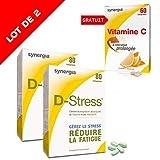 D-Stress (+1 Vitamine C offerte)  Magnésium hautement assimilé, taurine, arginine et vitamines B  Origine France  Lot de 2 + 1 Vitamine C offerte
