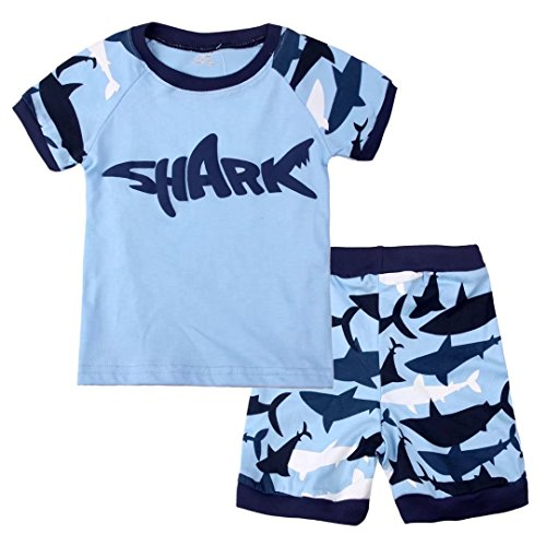 Toddler Boys Pyjama Sets Short Sleeve Shark Baby Pjs Kids Sleepwear Size 6 Months-13 Years 2 Piece 100% Cotton