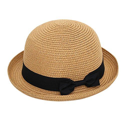 XY Fancy Damen modisch Rand kräuseln Bowler-Hüte sommer Sonnenschirm-Hut Strohhut mit Schliefe (Strohhut Safari)