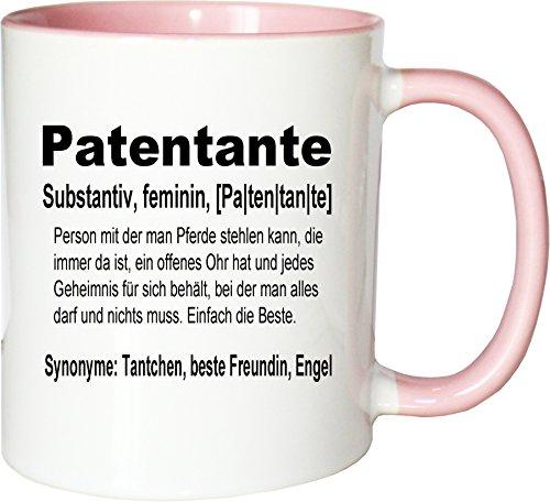 Mister Merchandise Kaffeebecher Tasse Patentante Definition Geburt Schwester Nichte Neffe Geschenk Teetasse Becher Weiß-Rosa
