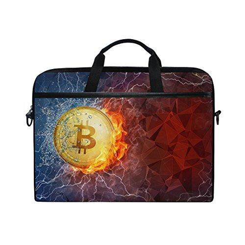 Ahomy Fire and Water Bitcoin 14-15,4 Zoll Multifunktionale Stofftasche Wasserdicht Laptop Tasche Aktentasche Schultertasche Messenger Bag -