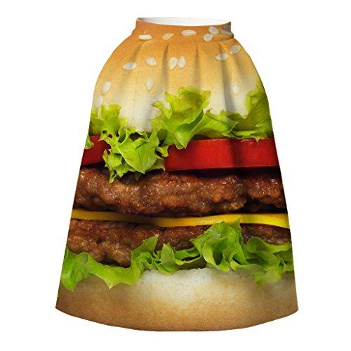 plein-de-motif-fantaisie-burger-king-plissee-jupes-mi-longues-mode-pour-femmes-m