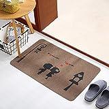 MKSFY Rutschfeste saugfähige Bodenmatte Tür Matte Weiche und Komfortable Teppich Matte für Badezimmer Küche Studie Schlafzimmer Korridor Eingangstür Wohnzimmer, 50x150cm, Braune Paar