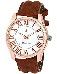 Golden Bell Original White Dial Brown Leather Strap Analog Wrist Watch For Men - GB-1046
