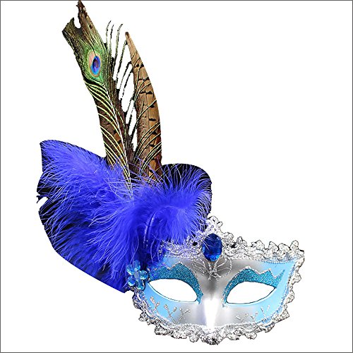 Eizur Maskerade Maske Ballmaske Venedig Prinzessin Maske Gesichtsmaske mit Pfauenfedern für Karneval Halloween Party Kostüm Cosplay Requisiten Fasching Party Verrücktes Kleid Ball - Blau (Und Kleider Maskerade Maske)