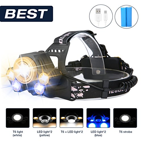 Linterna frontal LED, SGODDE Super Brillante 8000lm 5 Modo Impermeable Foco Ajustable Perfecto para Acampar, Montar en Bicicleta de Montaña,...