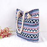AuBer Canvas Travel Tote Bag Beach Bag Shoulder Bag Holiday Shopping Bag For Women Ladies and Girls