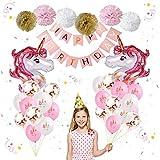 IEONGI Anniversaire Licorne Décoration de Fete d'anniversaire de Licorne Balloons, Kit Ensemble de 25 Inclus bannière de Joyeux Anniversaire Or Rose et Blanc Pompons en Papier