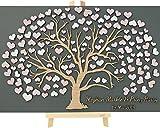 Livingstyle & Wanddesign 3D Baum aus Holz zur Hochzeit mit Namen und Datum mit Herzblättern und Vogelpaar (100 Stück)