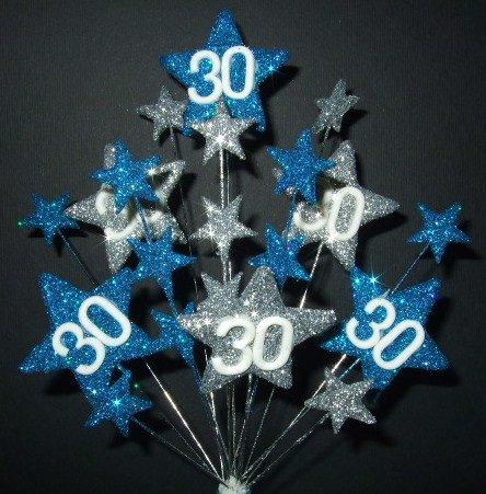 STAR AGE 30TH BIRTHDAY CAKE TOPPER DECORATION IN LASER AND SILVER