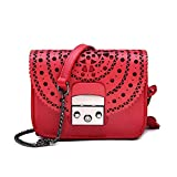 Hohe Qualität aus echtem Leder Handtasche Hohl Damen kleine quadratische Tasche Umhängetasche Messenger Bag Mode Abendtasche (tiefrot, 17 * 14 * 9cm)