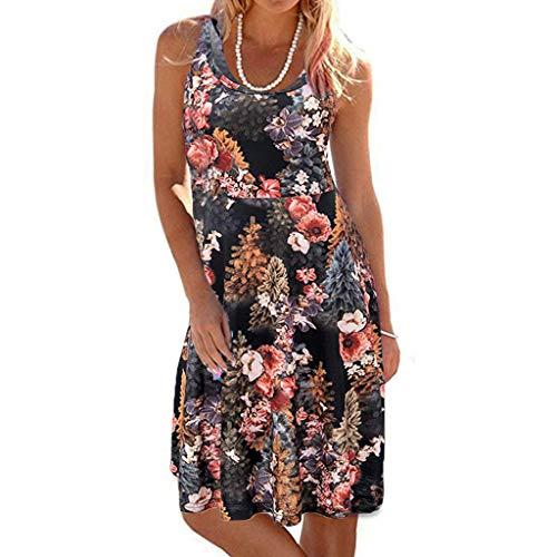 TIFIY Sommerkleid Damen,Elegante Ärmelloser O-Hals Maxi Tank Dress drucken Lässiges Blumenmuster Strand Partykleider(Schwarz,M