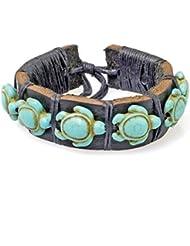 PAPAYANA Hippes Leder-Armband besetzt mit türkisen Steinen in Schildkröten-Form