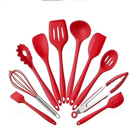 feleph Silikon Geschirr 100Kochgeschirr-Set grün-Backgeschirr Silikon Kochgeschirr Geschirr Löffel, Spatel, Küche Gadget Set (rot) (10 Stück Grün Kochgeschirr-set)