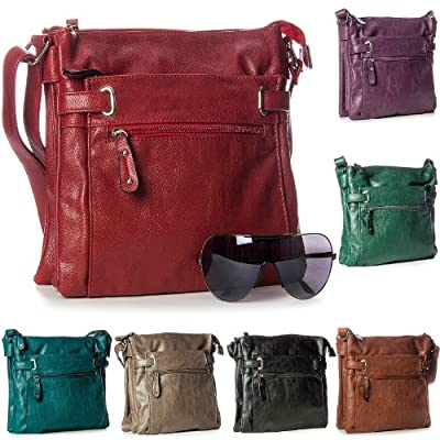 Womens Medium Multi Pocket Compartment Trendy Messenger Cross Body Shoulder Bag and Handbags for Ladies