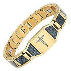 Idea Regalo - Willis Judd cristiana Gesù crocifisso croce blu in fibra di carbonio titanio braccialetto magnetico con confezione regalo e collegamento regolatore strumento