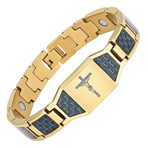 n Jesus Kruzifix Kreuz blau Carbon Titan Magnet Armband mit Geschenk-Box und Link Einstellknopf Werkzeug ()