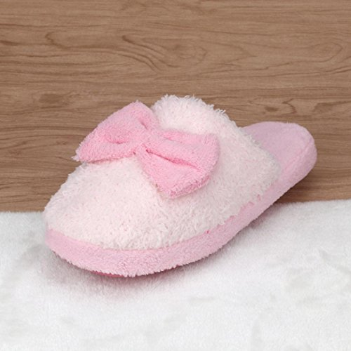 Per Donna,Amlaiworld Pantofole di cotone caldo coperta antiscivolo Bowknot Rosa