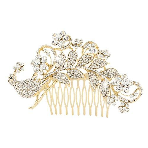 Flyonce Damen Österreichische Kristall Braut Elegante Pfau Blume Haar Kamm Klar Gold-Ton