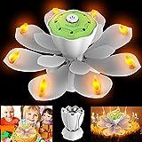 Homecube LED Geburtstagskerzen, Geburtstag Musikkerze 3 Einstellbare Blitzmodi Drehbare Kerzen Blühende Lotusblume Licht mit für Geburtstagsparty,Weihnachtsbeleuchtung Dekoration(Weiß)