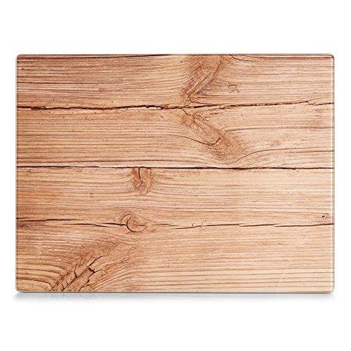 Glas Schneideplatte, Motiv Wood, Küchen Schneidebrett, in 2 Größen, Servierbrett, Servierplatte, Zeller (Mittel 30x20cm)