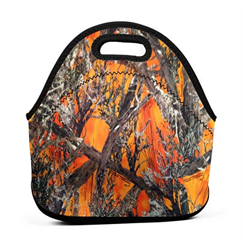 Realtree Camo Orange Portable Lunch Bags,Reusable Picnic Bag -For Adults, Women, Girls, School Children - Suitable For Travel, Picnic, Office (Small) -