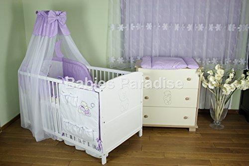 Baby Bettwäsche mit Applikation Kariert (Teddybears) (5 tlg, Lila Kariert)