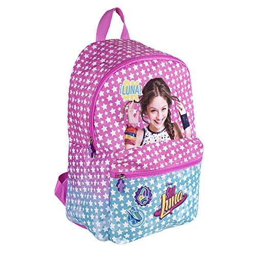 Disney Soy Luna Kinder Rucksack - Schulranzen mit weiße Sterne - Schulrucksack für Schule und Kindergarten - Rosa - 38x26x16 cm - Perletti