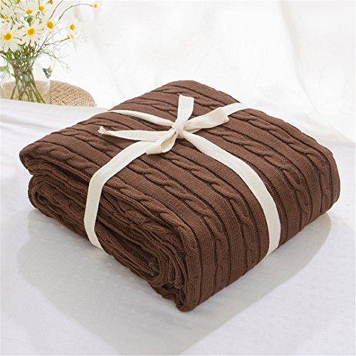 Weiche Decken für Betten Baumwolle Decke Tagesdecke Bettwäsche Strickmuster Decke Klimaanlage bequem schlafen Bett Tagesdecken Coffee 180x200cm