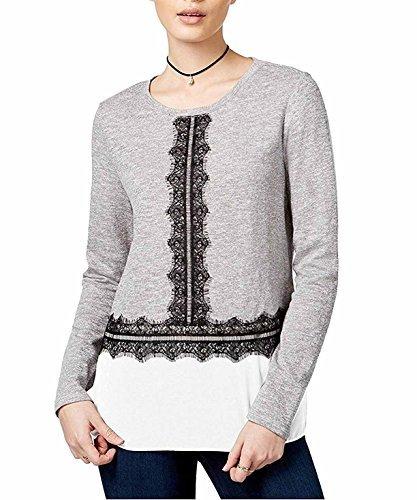 Maison Jules Women's Lace-Trim Contrast Top (Large, Grey)